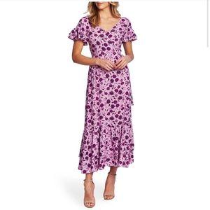Cece Morrocan Tile Ruffle Trim Boho Maxi Dress